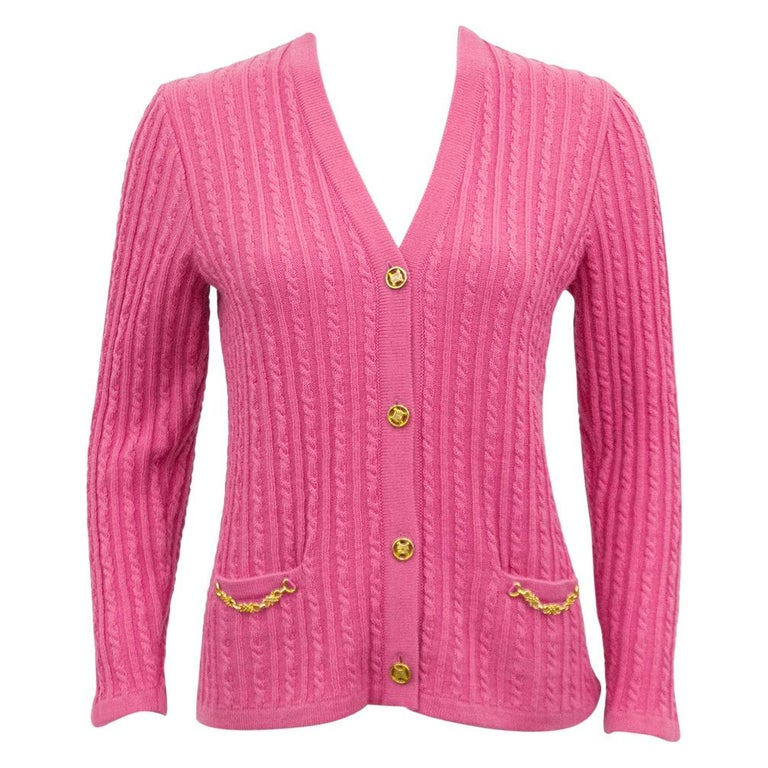 1970s Celine Pink Wool Cable Knit Cardigan  For Sale