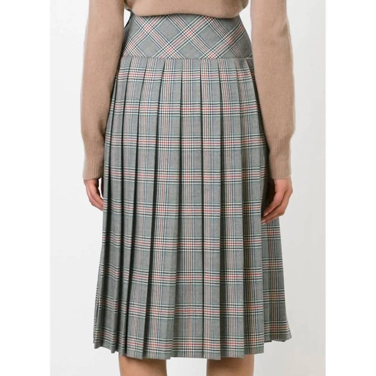 Gray 1970s Céline Prince Of Wales Skirt For Sale