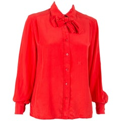 1970s Celine Red Silk Shirt