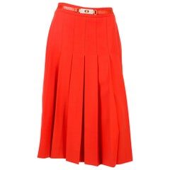 1970s Celine Red Wool Pleated Skirt