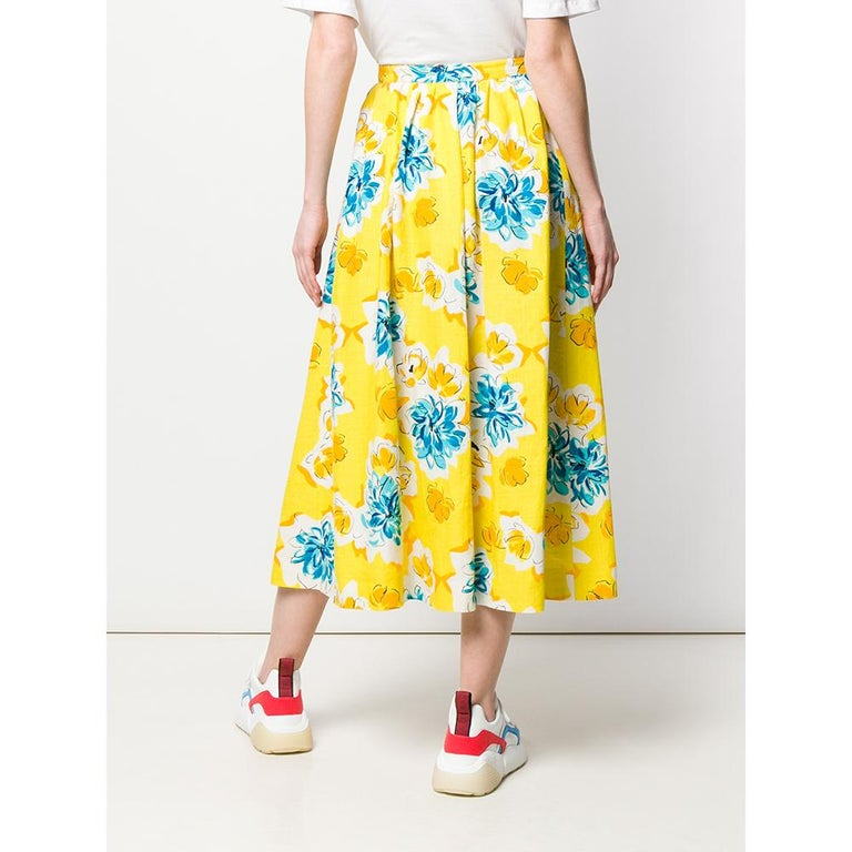 1970s Céline Yellow Printed Skirt In New Condition For Sale In Lugo (RA), IT