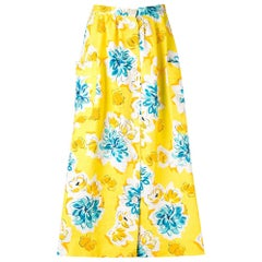 1970s Céline Yellow Printed Skirt