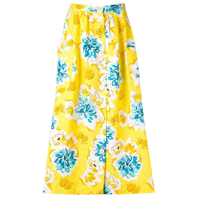 1970s Céline Yellow Printed Skirt For Sale