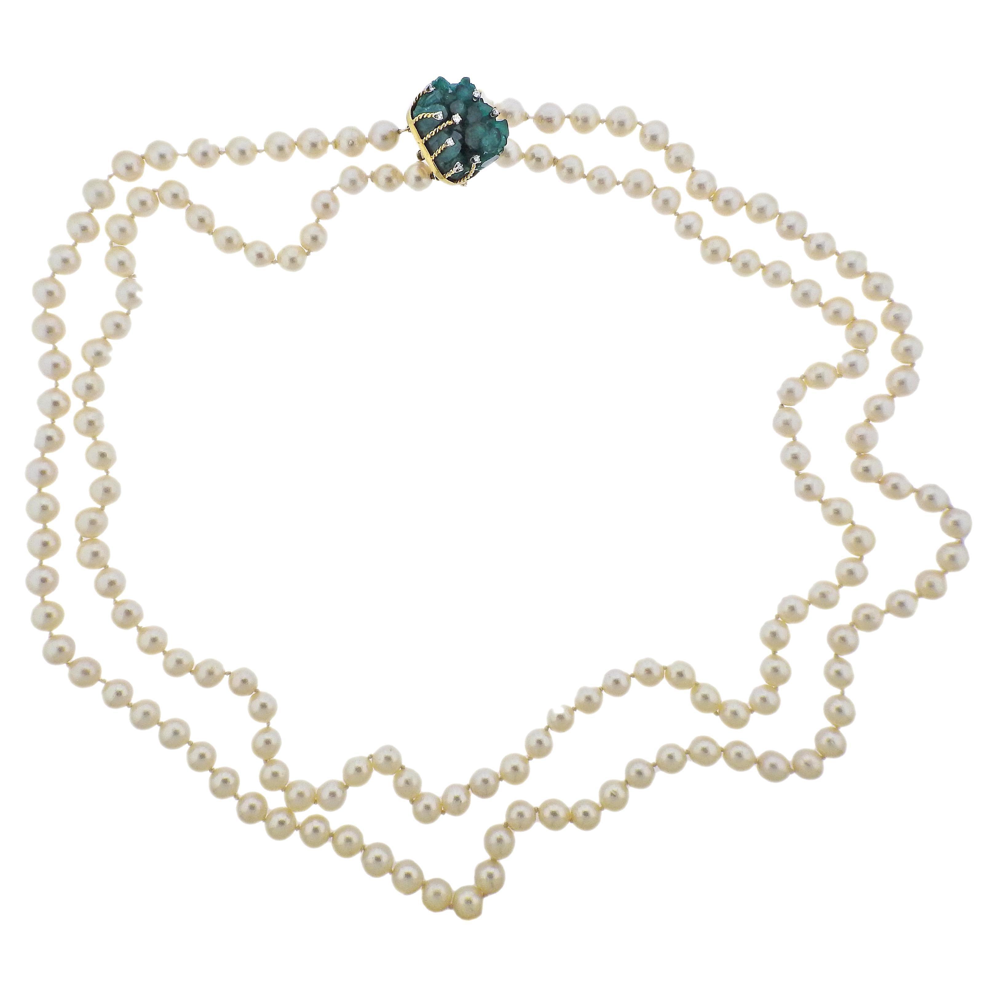 1970s Cellino Chatham Emerald Diamond Pearl Necklace