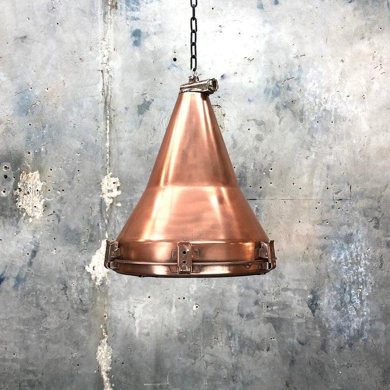 1970s Korean Copper, Cast Brass and Glass Industrial Flood Light Pendant Lamp For Sale 7