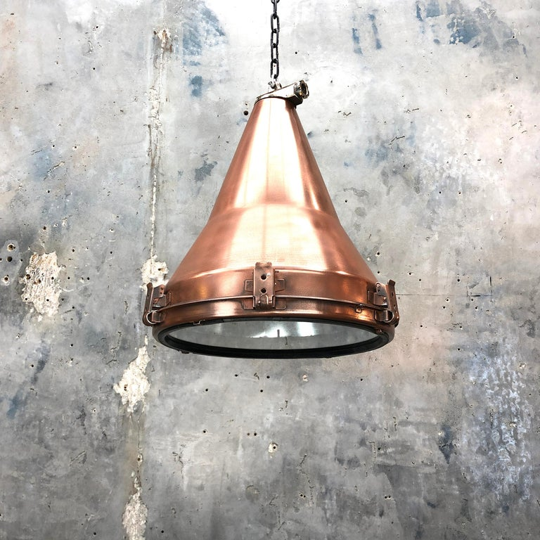1970s Korean Copper, Cast Brass and Glass Industrial Flood Light Pendant Lamp For Sale 8