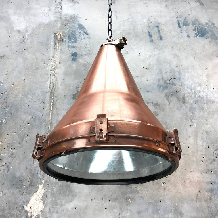 1970s Korean Copper, Cast Brass and Glass Industrial Flood Light Pendant Lamp For Sale 9