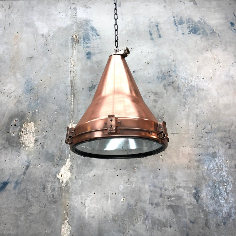 1970s Korean Copper, Cast Brass and Glass Industrial Flood Light Pendant Lamp For Sale 10