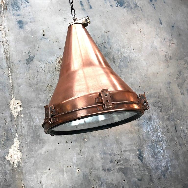 1970s Korean Copper, Cast Brass and Glass Industrial Flood Light Pendant Lamp For Sale 11