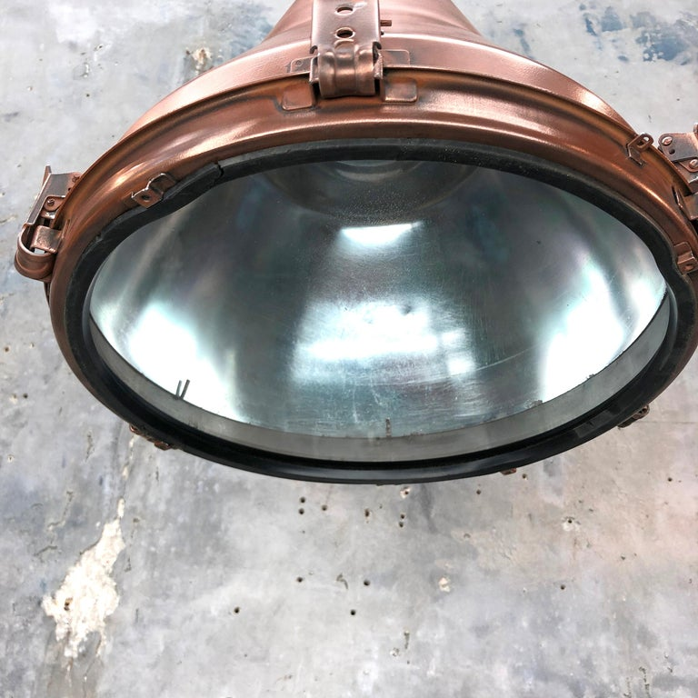 1970s Korean Copper, Cast Brass and Glass Industrial Flood Light Pendant Lamp For Sale 2