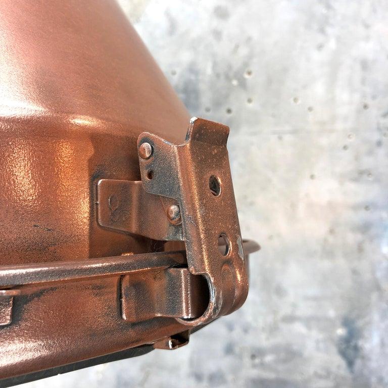 1970s Korean Copper, Cast Brass and Glass Industrial Flood Light Pendant Lamp For Sale 3