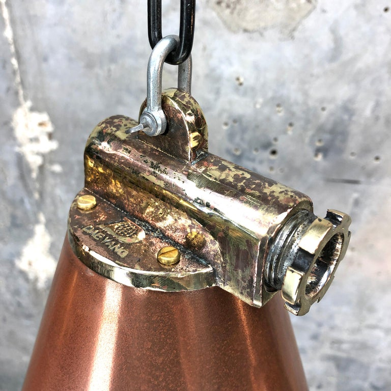 1970s Korean Copper, Cast Brass and Glass Industrial Flood Light Pendant Lamp For Sale 5