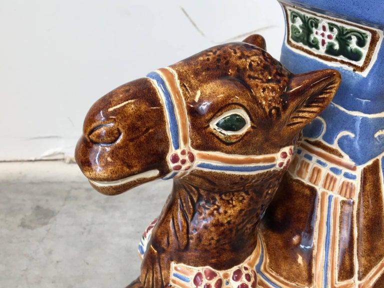 20th Century 1970s Ceramic Camel Sculpture Garden Stool For Sale