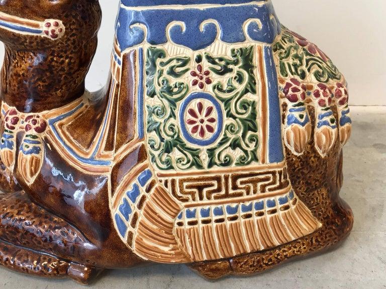 1970s Ceramic Camel Sculpture Garden Stool For Sale 3