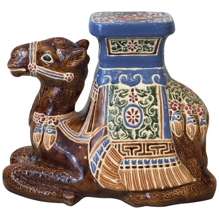 1970s Ceramic Camel Sculpture Garden Stool For Sale