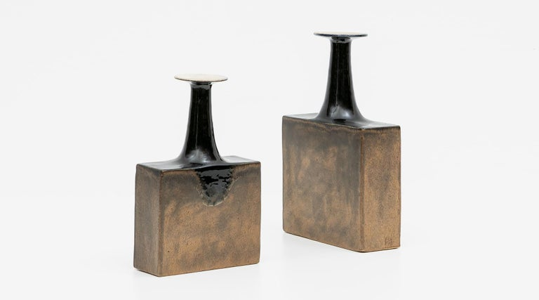 Set of two vases, ceramic, glazed, Bruno Gambone, Italy, 1970s.