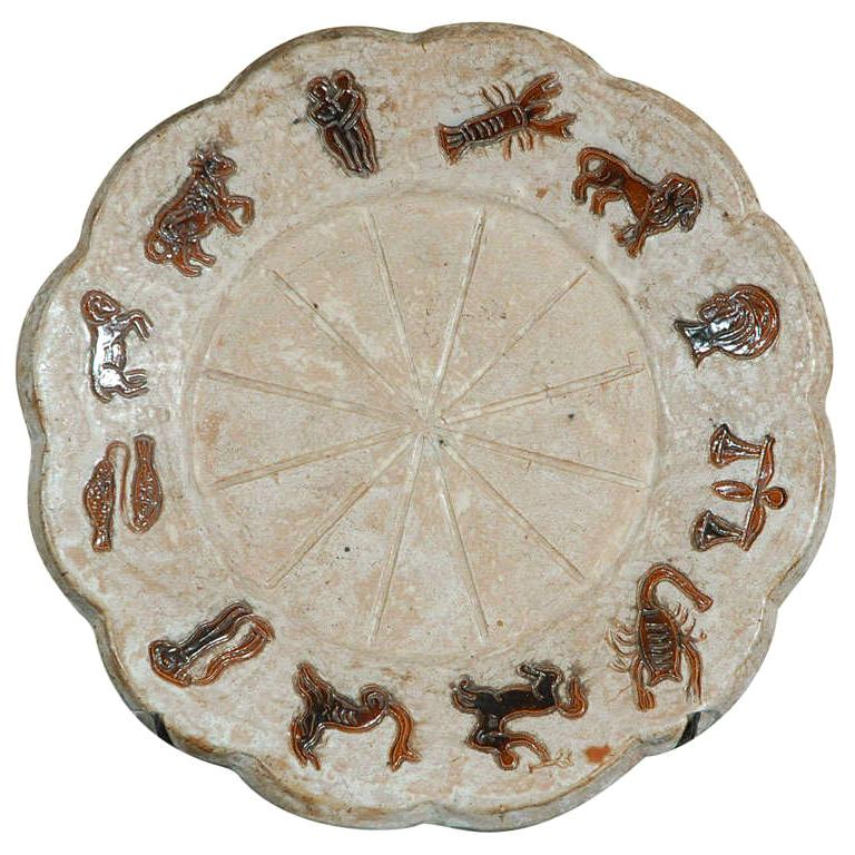 1970s Ceramic Zodiac Symbols Plate Signed Acmogres