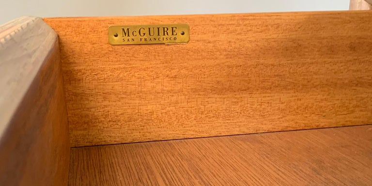 1970s Cerused Oak and Rattan Writing Desk by McGuire For Sale 2