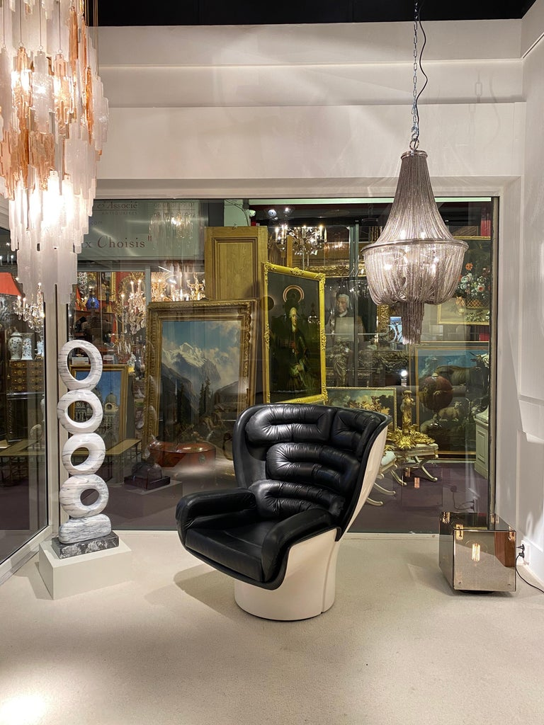 1970s Chain Steel Chandelier In Excellent Condition For Sale In Saint-Ouen, FR