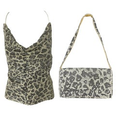 1970s Chainmail Black and White Leopard Animal Print Halter Top and Handbag Set