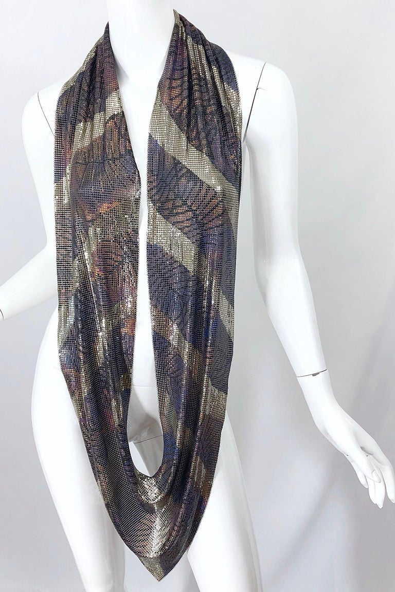 1970s Chainmail Hand Painted Metal Paco Rabanne Style Vintage 70s Scarf Top For Sale 5