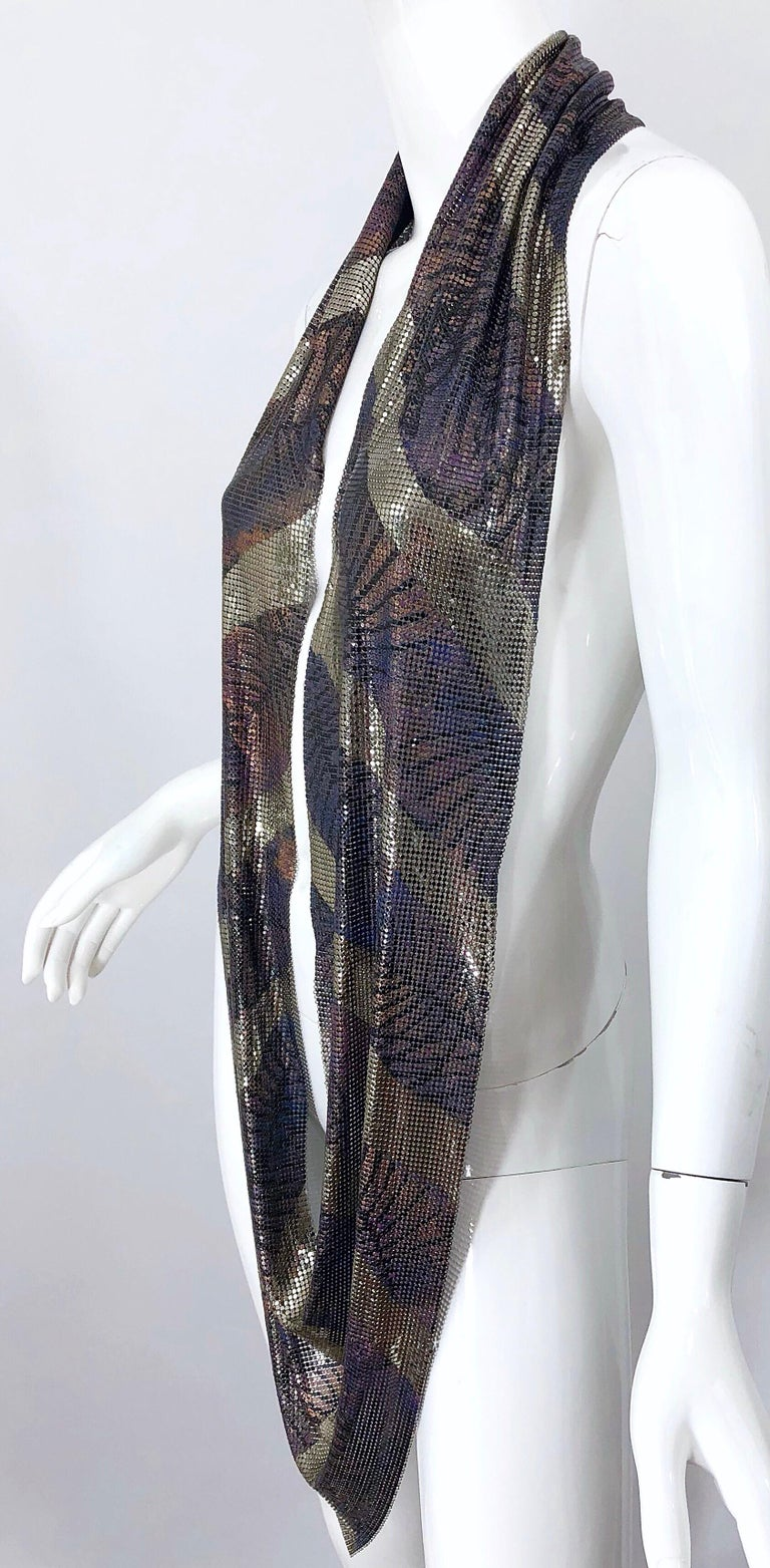 1970s Chainmail Hand Painted Metal Paco Rabanne Style Vintage 70s Scarf Top In Good Condition For Sale In Chicago, IL
