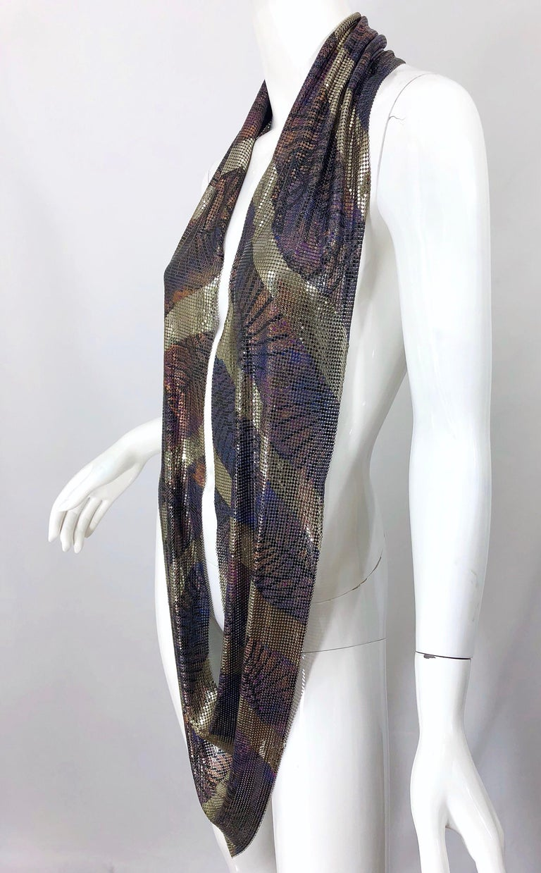 1970s Chainmail Hand Painted Metal Paco Rabanne Style Vintage 70s Scarf Top For Sale 2
