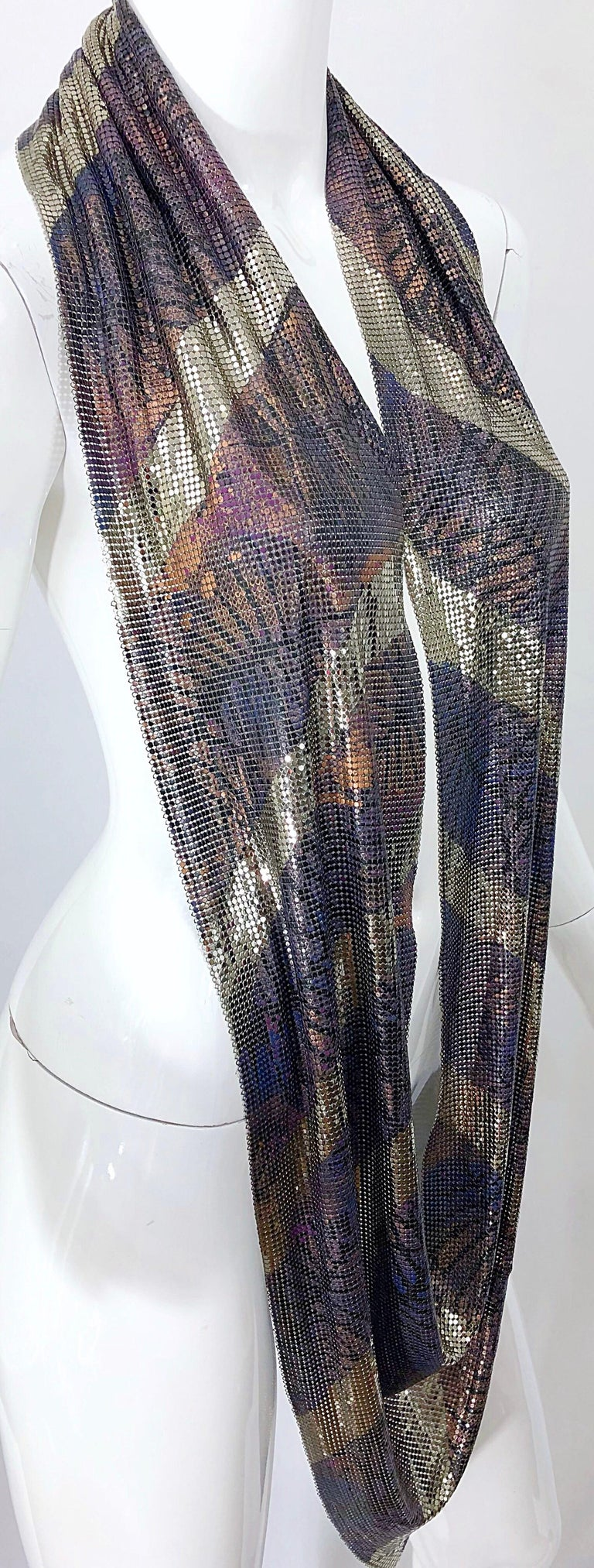 1970s Chainmail Hand Painted Metal Paco Rabanne Style Vintage 70s Scarf Top For Sale 3