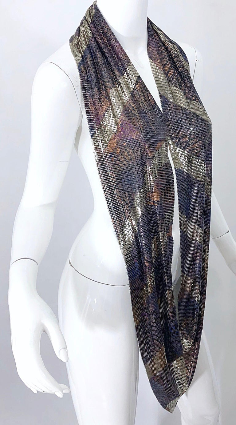 1970s Chainmail Hand Painted Metal Paco Rabanne Style Vintage 70s Scarf Top For Sale 4