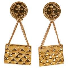 1970's Chanel Flap Purse Earrings