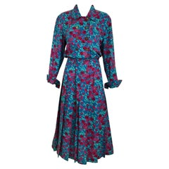 1970s Chanel Floral Print Silk Long Sleeve Dress