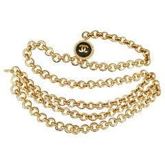 Vintage CHANEL Gold Plated Triple Chain Belt Necklace