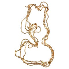 1970s Chanel Gold Toned Triple Chain Necklace
