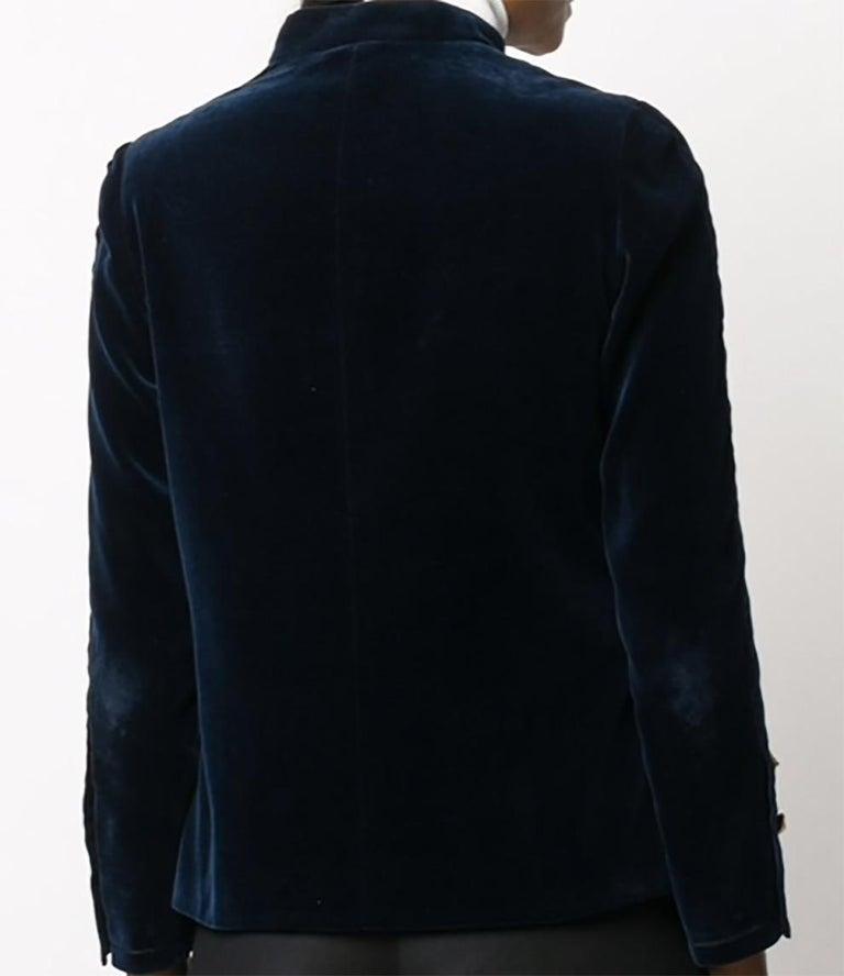 Black 1970s Chanel Haute Couture Navy Velvet Jacket For Sale