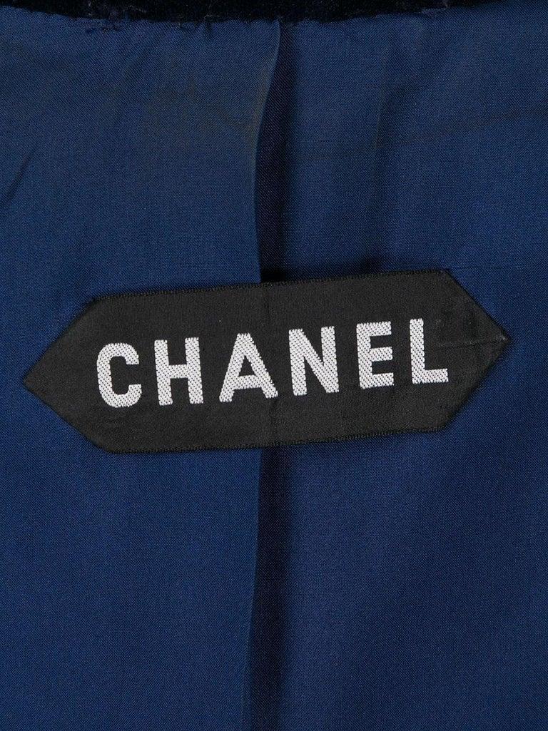 Women's 1970s Chanel Haute Couture Navy Velvet Jacket For Sale