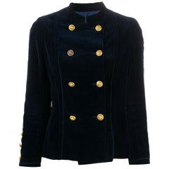 1970s Chanel Haute Couture Navy Velvet Jacket