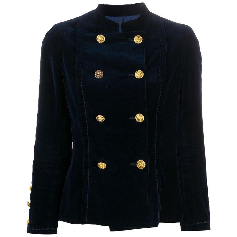1970s Chanel Haute Couture Navy Velvet Jacket For Sale