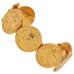 1970s Chanel Logo Coins Cuff Bracelet