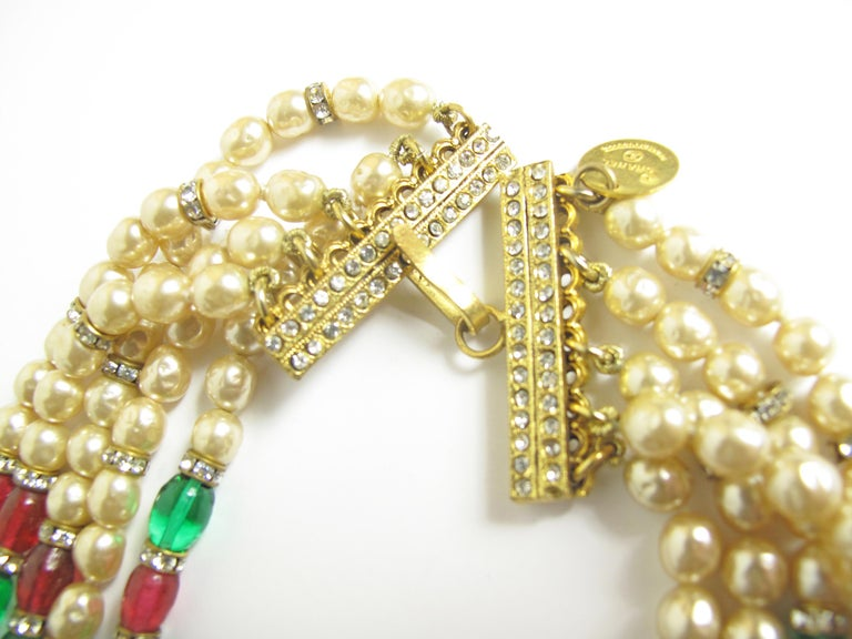 1970s Chanel Multi-strand Gripoix, Faux Pearls and Crystal Necklace In Good Condition For Sale In Austin, TX