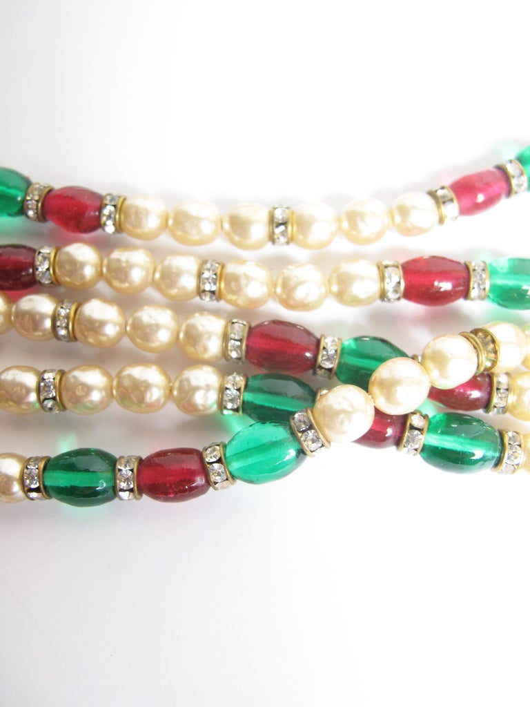 Women's or Men's 1970s Chanel Multi-strand Gripoix, Faux Pearls and Crystal Necklace For Sale