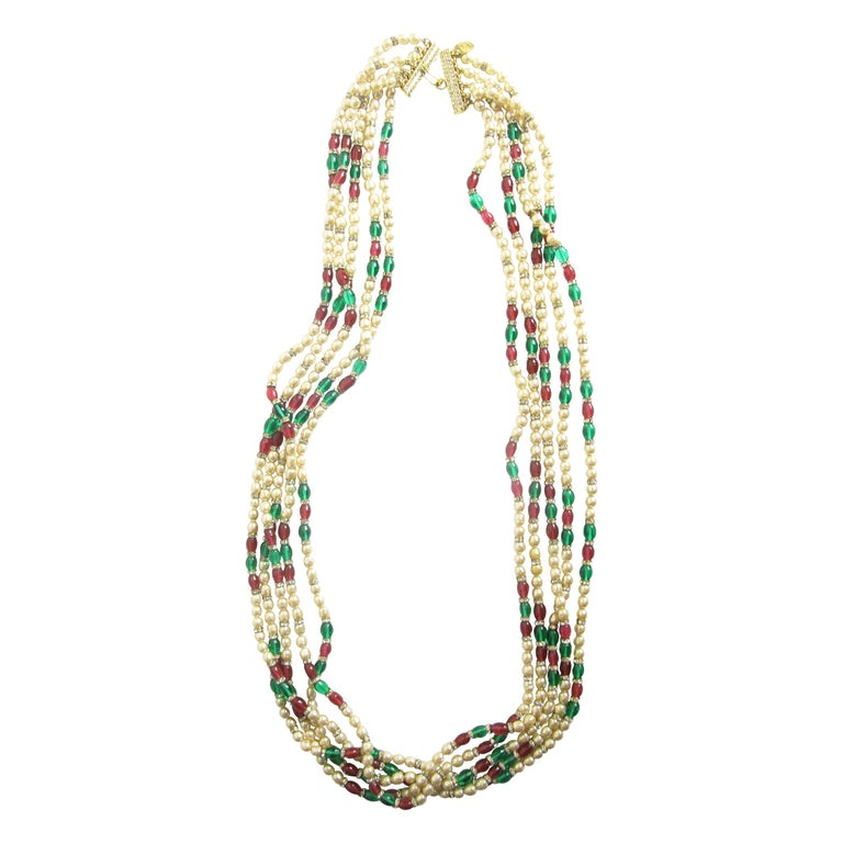 1970s Chanel Multi-strand Gripoix, Faux Pearls and Crystal Necklace For Sale