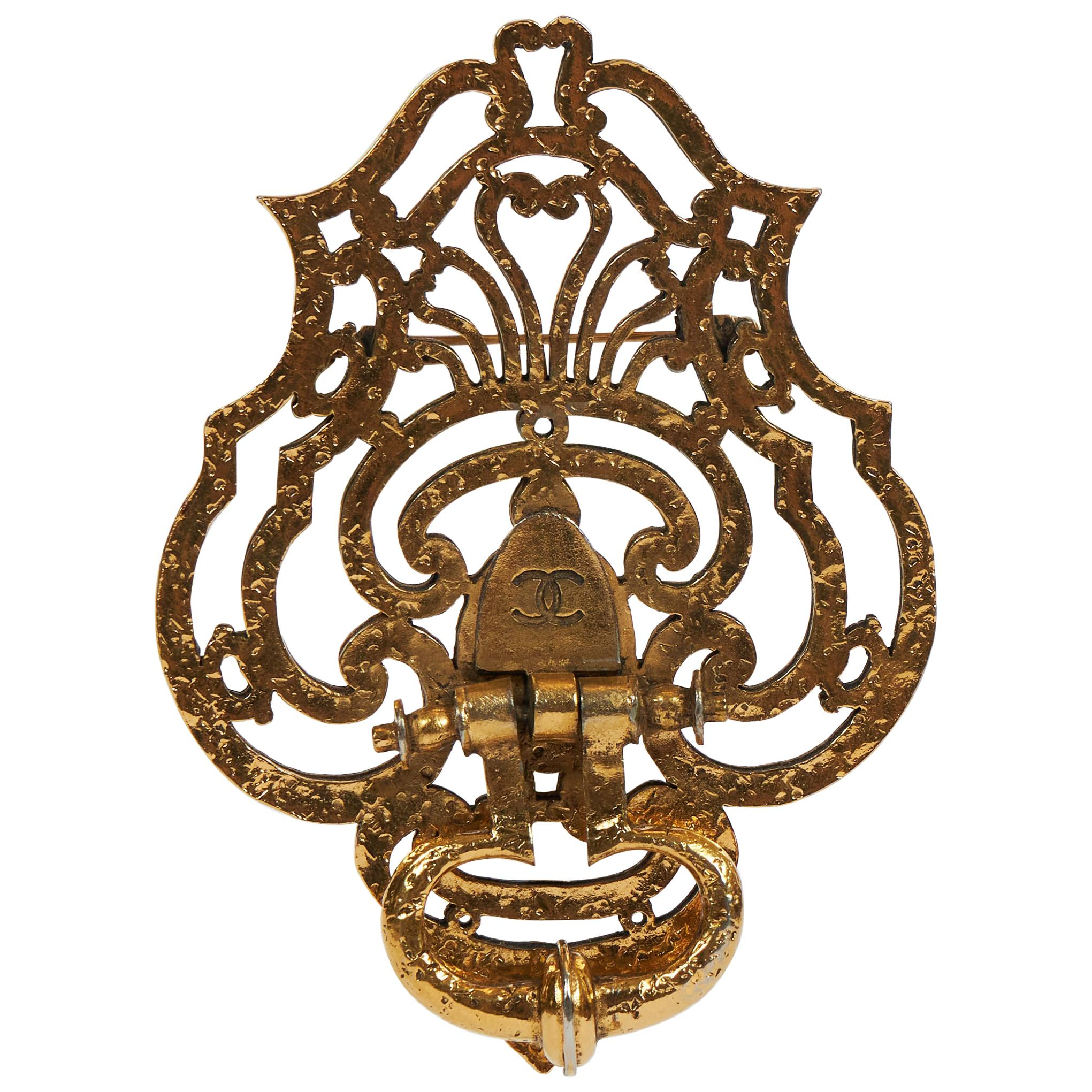 1970 S Chanel Oversized Unique Door Knocker Pin For Sale At 1stdibs