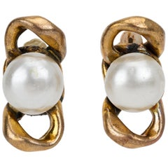 1970's Chanel Pearl Chain Clip Earrings