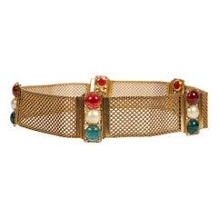 1970's Chanel Rare Gripoix Mesh Jewel Belt
