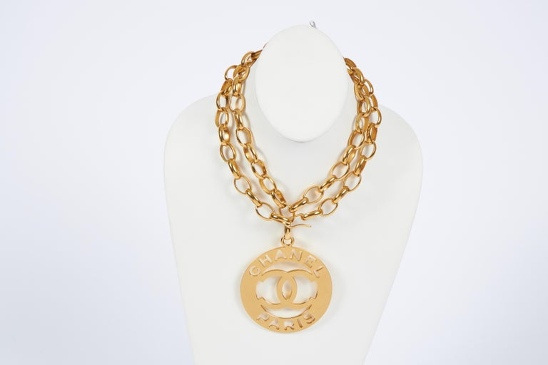 Women's 1970's Chanel Rare XLG Gold CC Pendant Necklace For Sale