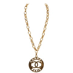 1970's Chanel Rare XLG Gold CC Pendant Necklace