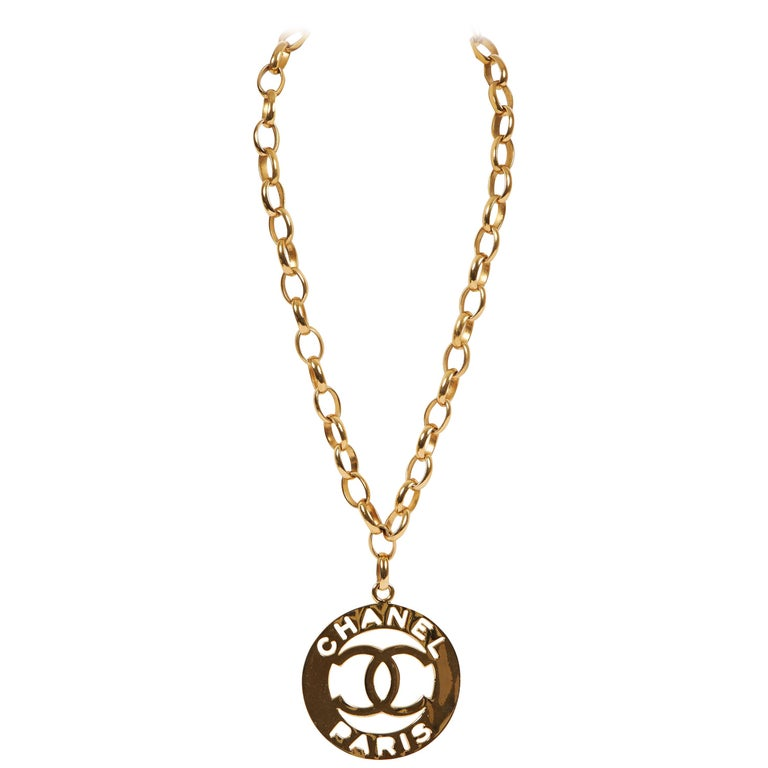 1970's Chanel Rare XLG Gold CC Pendant Necklace For Sale