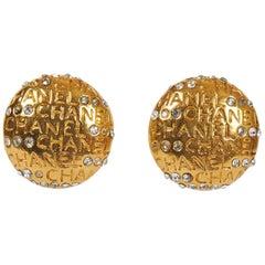 1970's Chanel Rhinestone Logo Earrings