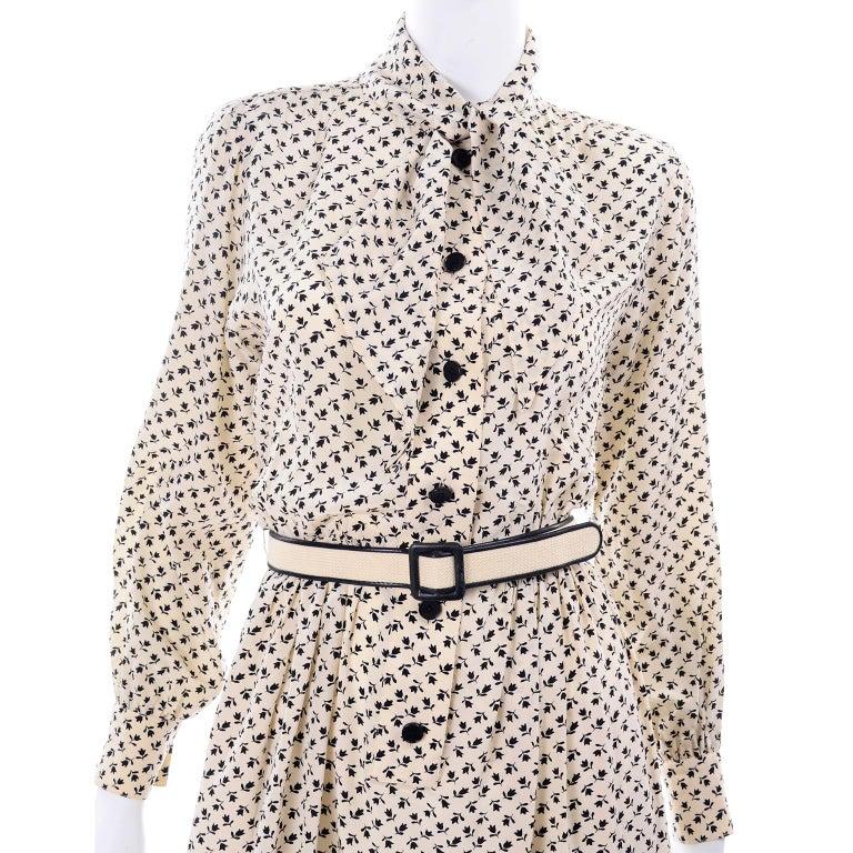 1970s Chanel Vintage Cream Black Tulip Print Silk Day Dress  For Sale 7