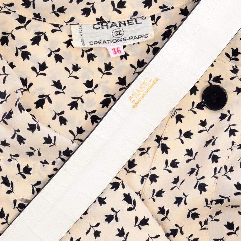 1970s Chanel Vintage Cream Black Tulip Print Silk Day Dress  For Sale 8